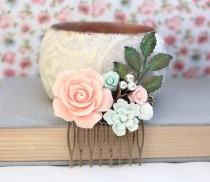 wedding photo - Flower Hair Comb Wedding Hair Accessories Floral Collage Comb Green Patina Branch Pink Rose Hair Piece Rustic Country Chic Bridal Comb