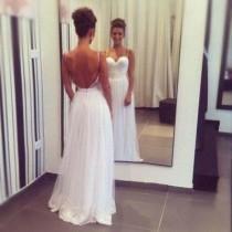 wedding photo - Spaghetti Straps Long Elegant Lace Prom Dresses,Cheap Wedding Dresses,Backless Evening Dresses