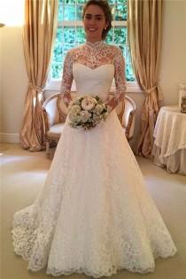 wedding photo - High Neckline Lace A Line Long Sleeve Wedding Dresses,Open Back Wedding Gowns,Bridal Dresses,SVD515