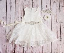 wedding photo - Rustic Flower Girl Dress, White Lace Dress- Rustic Lace Flower Girl Dress, Lace Rustic Dress, White Baptism Dress, Birthday Dress