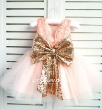 wedding photo - Rose Gold Lace Back Couture Flower Girl Dress, Toddler Pageant Dress, Girl Birthday Dress, PD111-2