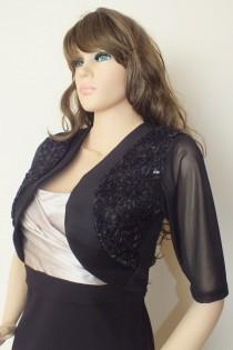 wedding photo - Black Evening Bolero Jacket, Bridal Bolero,Wedding Bolero,Promdress Bolero