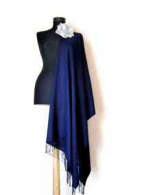 wedding photo - Dark Navy Shawl, Midnight Blue Wedding Shawl, Soft Luxury Pashmina, Gift Scarf, Elegant Wrap, Bridesmaid Gift, Wedding Favor, Brooch Pin