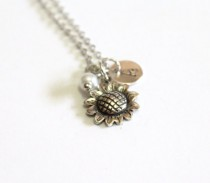 wedding photo - Sunflower Sterling Silver Necklace, Sunflower Necklace, Tiny Silver Necklace, Personalized Silver Disc, Monogram Charms, Silver Personalized