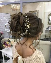 wedding photo - Messy Bridal Hair Updo With Hair Accessories