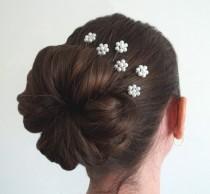wedding photo - White Pearl Florettes - Set of 6 Bobby Pins
