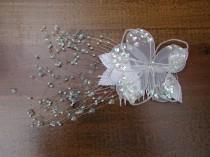 wedding photo - Wedding Brides Hair Comb White Sequins Flower Comb Hair Accessory