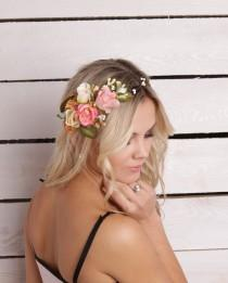 wedding photo - Peach Flower hair wreath Bridesmaid flower crown Bridal floral crown Wedding flower crown White Flower halo woodland crown flower circlet