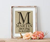 wedding photo - Personalized Burlap Sign, Burlap Wedding Print, Bridal Shower, Burlsp Signs, Monogrammed Burlap Wedding Print, Wedding Burlap Print
