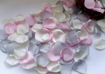wedding photo - Gray petals/pink petals/silver petals/Pink Рetals/satin petals/Silk petals/table decoration/Petals Handmade/Fabric Petals/Table Scatters