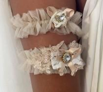 wedding photo - Lavish Champagne Tulle and Lace Wedding Garter Belt Set. Rustic Vintage Wedding Accessory
