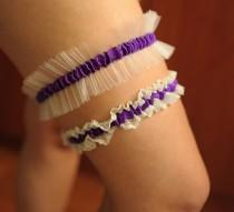 wedding photo - Ivory Purple Garters set bridal garter Bride garter set Wedding Toss Garter bridal garter lace wedding garter keepsake garter lace garters