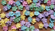 wedding photo - Mini pastel royal icing flowers -- Edible cake decorations cupcake toppers (24 pieces)
