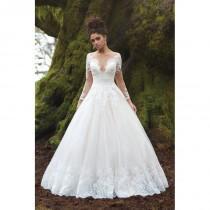 wedding photo - Style 9366 by Allure Bridals - Lace  Tulle Illusion back Floor Off-Shoulder  Plunge  V-Neck A-Line  Ballgown Wedding Dresses - Top Design Dress Online Shop