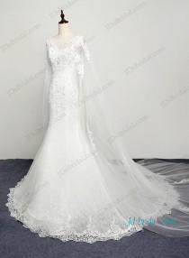 wedding photo - H1206 Romance watteau train lace mermaid wedding dress