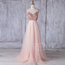 wedding photo - 2017 Rose Gold Sequin Bridesmaid Dress, A Line Mesh Wedding Dress, V Neck Spaghetti Straps Ball Gown, Sexy Backless Prom Dress Full (HQ400)