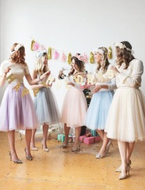 wedding photo - Pastel Colours In Knee Length Tulle Skirt/ 60 Colours Available in High Quality Tulle/ Wedding Tulle Skirt/ Bridesmaid Tulle Skirt