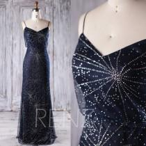 wedding photo - 2017 Navy Bridesmaid Dress, Silver Sequin Wedding Dress, Spaghetti Straps Prom Dress, Long Maxi Dress, Evening Gown Floor Length (JQ186)