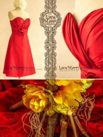 wedding photo - Crimson Red Bridesmaid Dress
