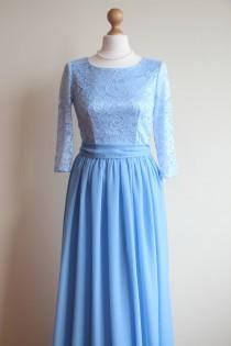 wedding photo - Long blue lace dress for bridesmaids Pastel blue bridesmaid dress Long bridesmaid dress Long prom dress Pale Blue dress women  Niagara dress