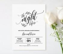 wedding photo - Wedding Rehearsal Dinner Printable, DIY Rehearsal Invitation Template, Night Before, Instant Download, Editable Text, PDF, Digital #107RD