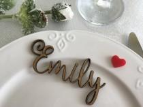 wedding photo - Wooden laser cut names, Wedding table place, Custom Name Place Setting, Wooden Table Place Cards, Escort Card Ideas, Guest name wood signs