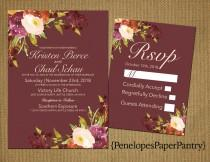 wedding photo - Elegant Rustic Fall Wedding Invitation,Marsala,Plum and Ivory,Fall Wildflowers,Traditional,Simple,Opt RSVP,Customizable with White Envelope
