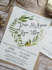 wedding photo - Rustic Wedding Invitation, Leafy Wreath Wedding Invitation, Laurel Wedding Invitation, Kraft Wedding Invitation, Country Wedding