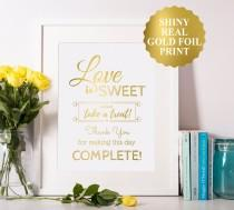 wedding photo - Love Is Sweet Take A Treat Sign, Gold Foil Love Is Sweet Please Take A Treat Sign, Gold Wedding Signs, Love Is Sweet Sign, Wedding Decor