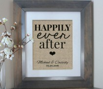 wedding photo - Wedding Gift for Couple Wedding Decor Housewarming Gift Anniversary Gift Happily Ever After Boyfriend Gift Personalized Anniversary Gift