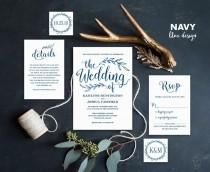 wedding photo - Navy Blue Wedding Invitation, Printable Wedding Invitations, Rustic Wedding Invitation, 5-Piece Suite, Editable Text, VW00