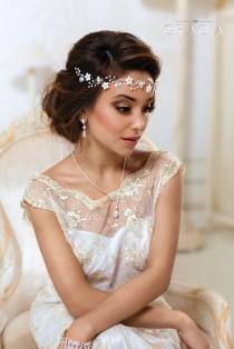 wedding photo - Bridal Flower crown Bridal hair vine White flower crown Leaf hair vine Ivory Floral crown Wedding flower crown First communion headpiece - $64.99 USD