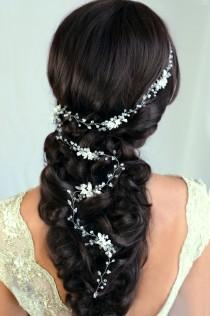 wedding photo - Bridal Hair Vine Wedding hair vine Flower hair vine Long hair vine Gold Pearl hair vine Bohemian bridal headpiece - $54.99 USD
