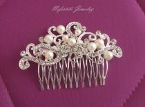 wedding photo - SALE-15% OFF Rhinestone & Pearl Bridal Hair Comb, Side Wedding hair piece, Bridal Hair Accessory, Bridal Hair Piece, Pearl Wedding hair comb