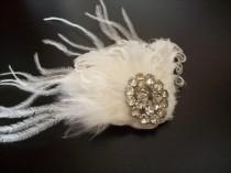 wedding photo - OOAK DESIGNER COUTURE headpiece - 1950s Vintage Rhinestone Jewelry Feather Fascinator, Bridal Headpiece, Bridal Hairpiece, Wedding Accessory