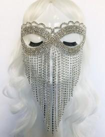 wedding photo - Crystal Dreams — Rhinestone Mask, Face veil, bridal, wedding, veil, masquerade, headpiece, wedding accessory