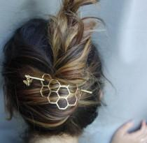 wedding photo - Hair Ware // XL Honeycomb Brass Handmade Hair Bun Slide Pin