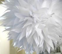 wedding photo - White tissue paper pom .. nursery decoration / baptism / wedding decor