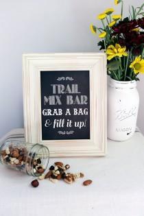 wedding photo - 8x10 Instant Download - Trail Mix Bar - Wedding Favor - Candy Bar - Printable Vintage Chic Chalkboard File