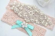 wedding photo - SALE BLUSH Crystal pearl Wedding Garter Set, Stretch Lace Garter, Rhinestone Crystal Bridal Garters