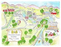 wedding photo - Custom Wedding Map - Hand Drawn Wedding Map-Watercolor Map of your city