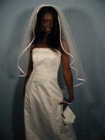"wedding photo - Wedding veil fingertip length 42"" long with folded satin ribbon 1/4""."