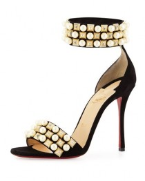 wedding photo - Tudor Studded Red Sole DOrsay Sandal, Black