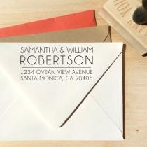 wedding photo - Modern and elegant custom return address stamp, custom gift, housewarming gift, wedding gift