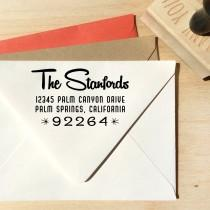 wedding photo - Mid-century Modern Retro custom Address stamp, custom gift, housewarming gift, wedding gift, birthday gift