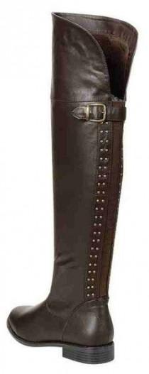 wedding photo - Brown Over The Knee Riding Boots W/Stud Accents Up The Back