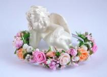 wedding photo - Pink flower headband Flower girl flower crown Flower hairpiece Flower hair Rustic flower headband Peach flower crown Bridal flower crown