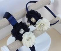 wedding photo - Navy blue headband, navy blue and ivory dress sash, navy blue flower girl headband, ivory and navy blue dress sash, navy flower girl sash