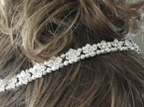 wedding photo - Pearl and crystal bridal hairpiece, Rhinestone wedding halo, Swarovski pearl headpiece