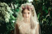 wedding photo - Flame Red Crystal wedding Crown Quartz Bridal crown Swarovski headpiece Mermaid headdress Quartz necklace Tiara Crystal hair Vine